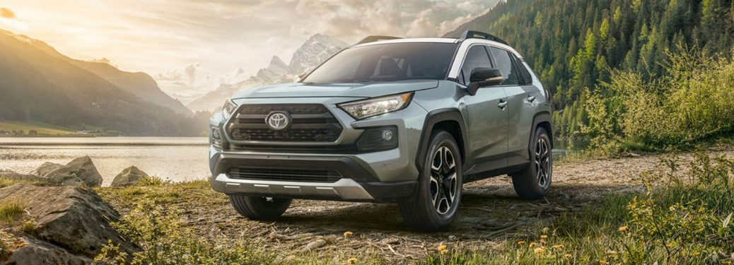 2020 Toyota RAV4 silver exterior front fascia driver side parked mountain and forest background
