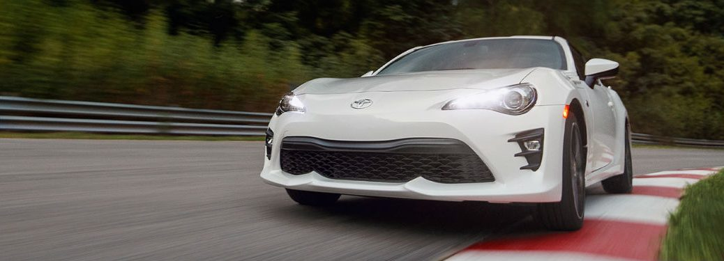 2020 Toyota 86 white exterior front fascia driver side driving on race track
