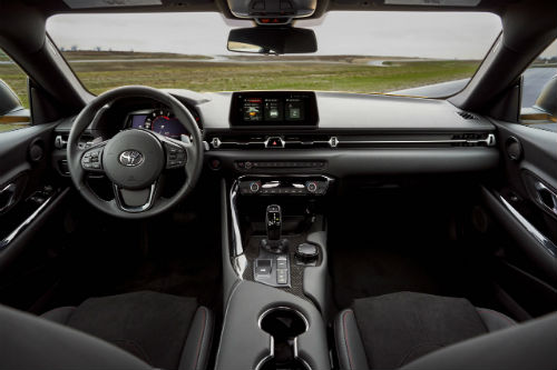 2021 gr supra interior front row and dashboard