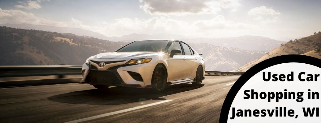 2020 Toyota Camry with text saying used car shopping in Janesville, WI
