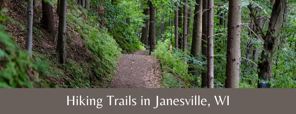 Picture of trail with text saying Hiking Trails in Janesville, WI