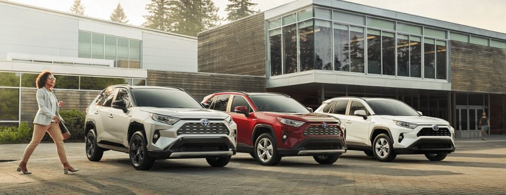 Three 2020 Toyota RAV4 models with hybrid vehicles