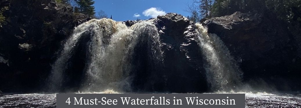 Little Manitou Falls at Pattison State Park with 4 Must-See Waterfalls in Wisconsin text