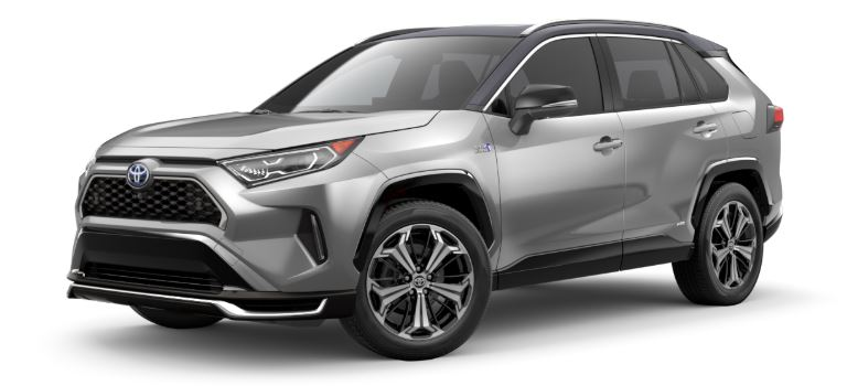 2021 Toyota RAV4 Prime side view Silver Sky Metallic with black roof