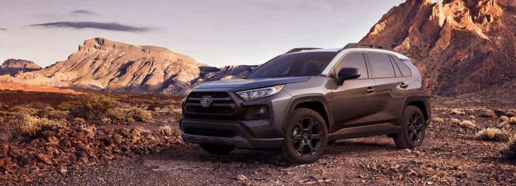 2020 Toyota RAV4 parked in front of mountains
