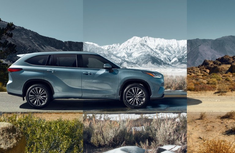 2021 Toyota Highlander with different seasons in the background