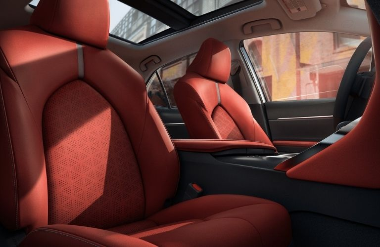 Red leather seats of the 2021 Toyota Camry.