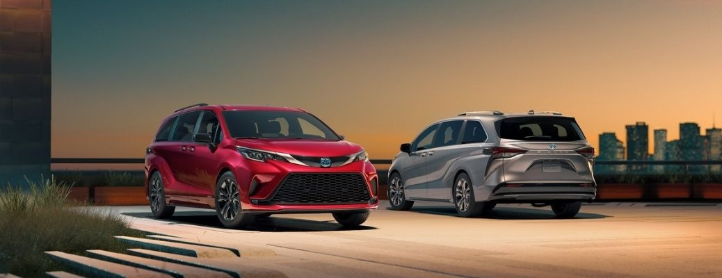 Two 2021 Toyota Sienna models parked parallelly