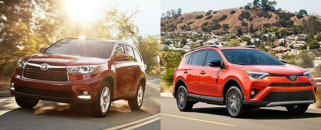 2016 Toyota Highlander vs 2016 Toyota RAV4 at Downeast Toyota-Bangor ME-Red 2016 Toyota Highladner and Orange 2016 Toyota RAV4
