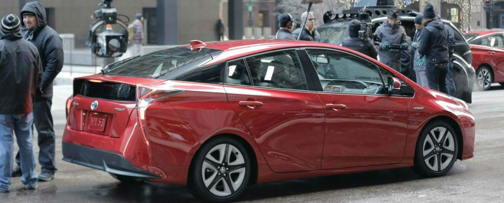 Toyota Prius The Longest Chase Super Bowl Commercial at Downeast Toyota-Bangor ME-Red 2016 Toyota Prius On Set for Super Bowl Commercial