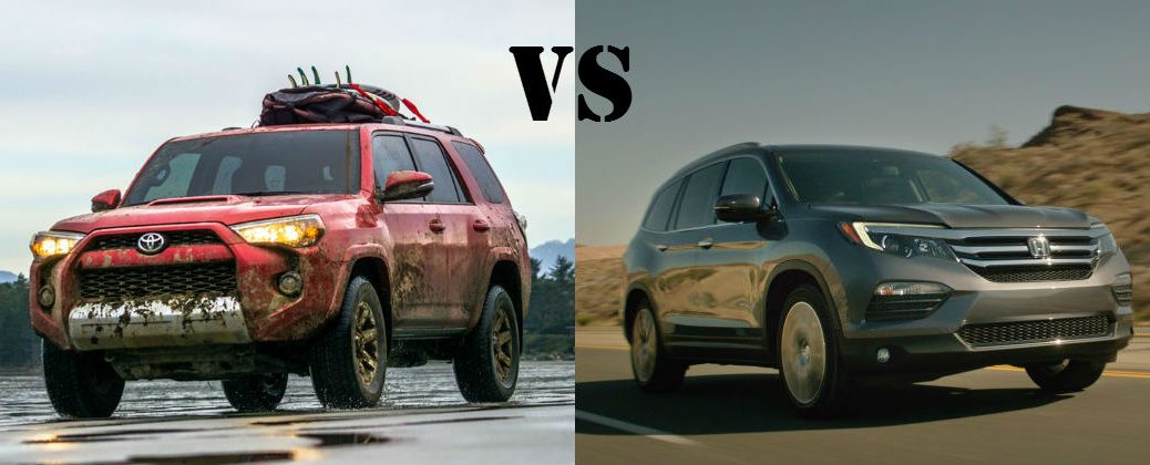2016 Toyota 4Runner vs 2016 Honda Pilot at Downeast Toyota-Bangor ME-Red 2016 Toyota 4Runner Next to Black 2016 Honda Pilot