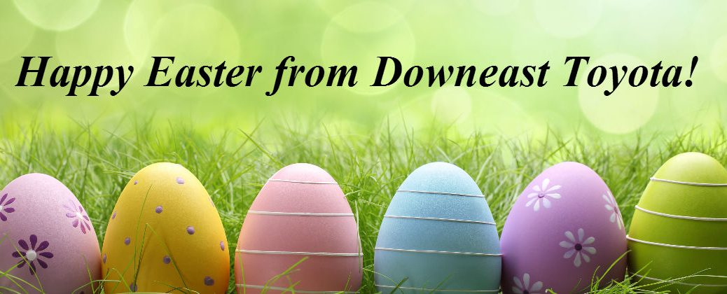 2016 Easter Events Bangor ME at Downeast Toyota-Happy Easter Banner with Brightly Colored Easter Eggs