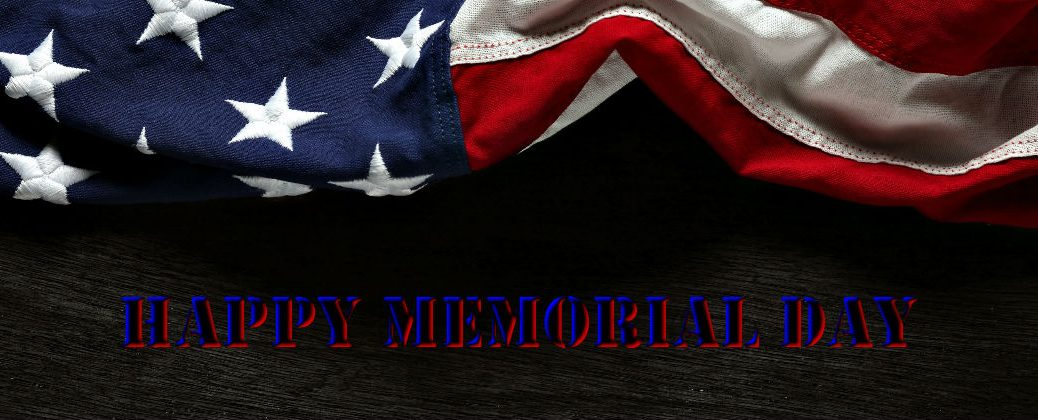 American Flag Close Up with Wood Background and Happy Memorial Day Banner