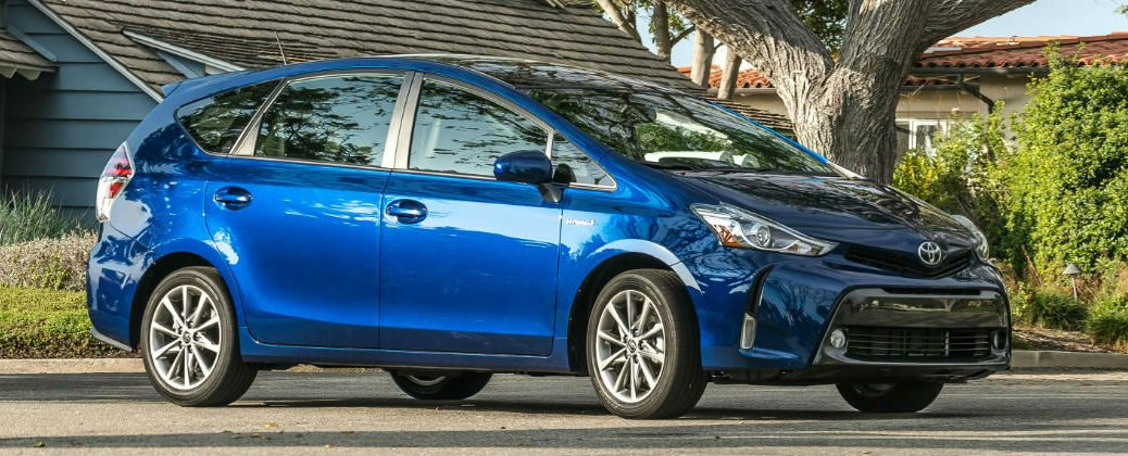 Blue 2017 Toyota Prius v Exterior in Driveway
