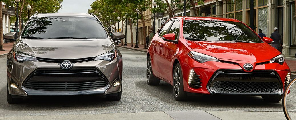 Bronze and Red 2017 Toyota Corolla Models on the Road