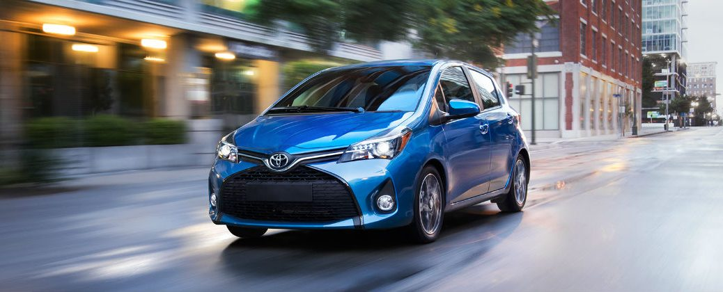 Blue 2017 Toyota Yaris Hatchback on City Street
