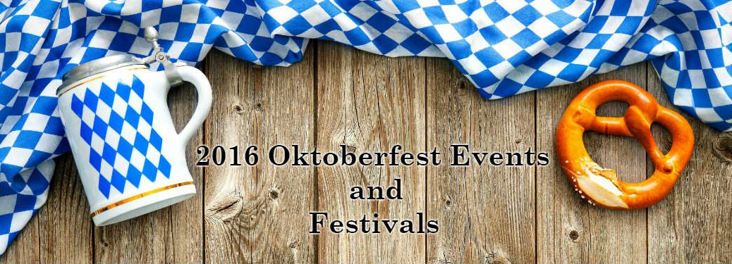Oktoberfest Flag Beer Mug and Pretzel on Wood Background