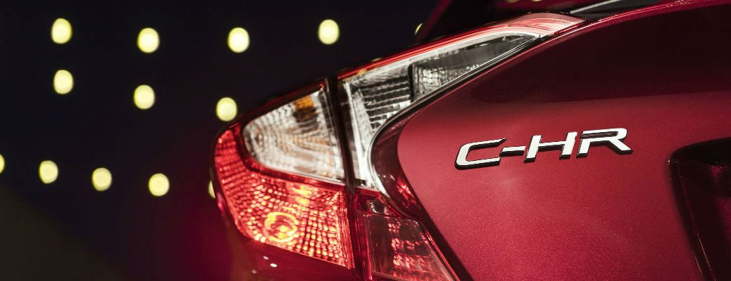 Red 2018 Toyota C-HR Rear Exterior Close up of C-HR Badge