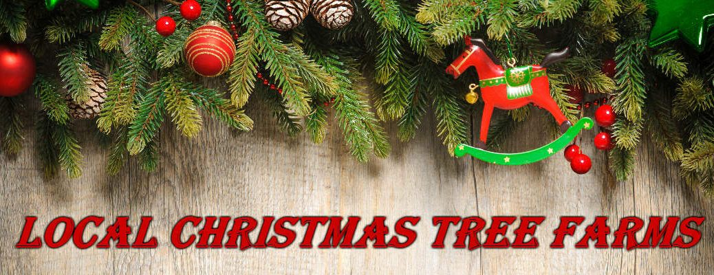 Christmas Background with Garland and Ornaments for Christmas Tree Farms Banner