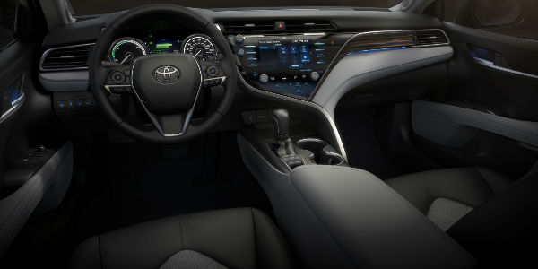 Black 2018 Toyota Camry Front Seat Interior and Dashboard with Toyota Entune 3.0