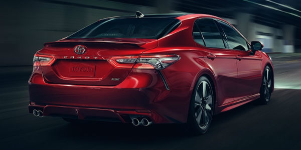 Red 2018 Toyota Camry XSE Rear Exterior and New Camry Badge