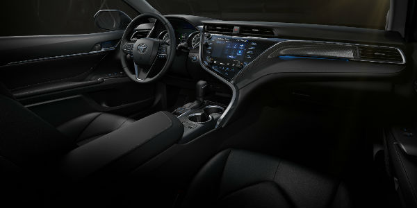 Black 2018 Toyota Camry Front Seat Interior with View of Driver Seat