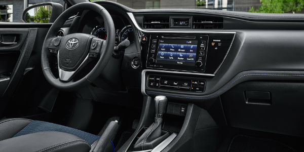 Black and Blue 2017 Toyota Corolla Interior with Entune Touchscreen