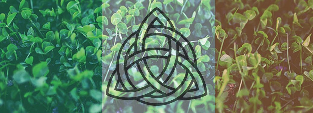 Field of Clover with Irish Flag Overlay and Celtic Trinity Knot in Center