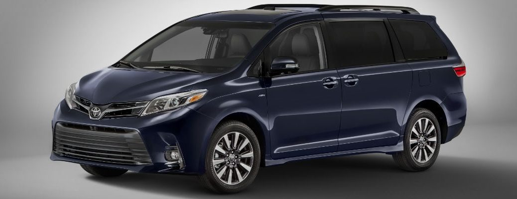 Blue 2018 Toyota Sienna Front and Side Exterior on Gray background