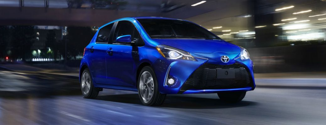Blue 2018 Toyota Yaris Front Exterior at Night on Highway