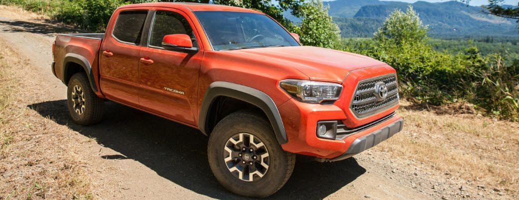 Orange 2017 Toyota Tacoma TRD Off Road on Trail