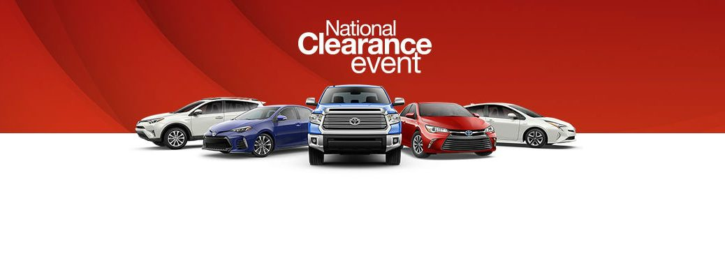 Toyota National Clearance Event Banner with Red and White Background and Toyota Models