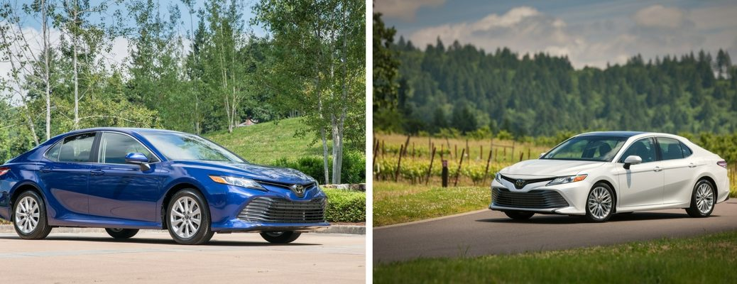 Blue 2018 Toyota Camry SE and White 2018 Toyota Camry XLE