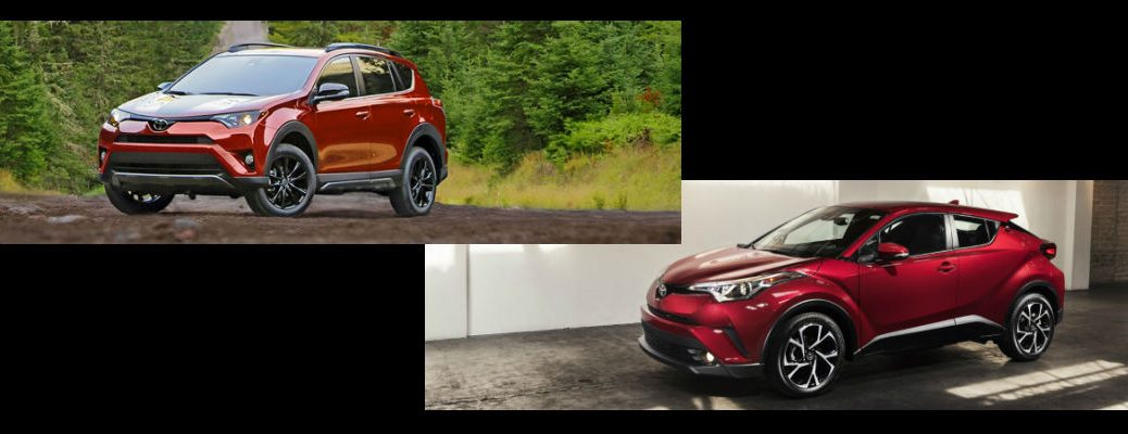 Red 2018 Toyota RAV4 Adventure and 2018 Toyota C-HR on Black Background