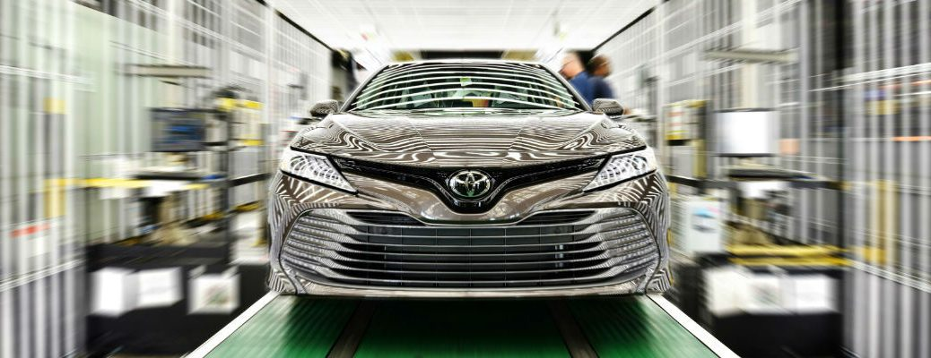 Gray 2018 Toyota Camry on Assembly Line