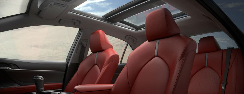 Red 2018 Toyota Camry Interior with Panoramic Moonroof