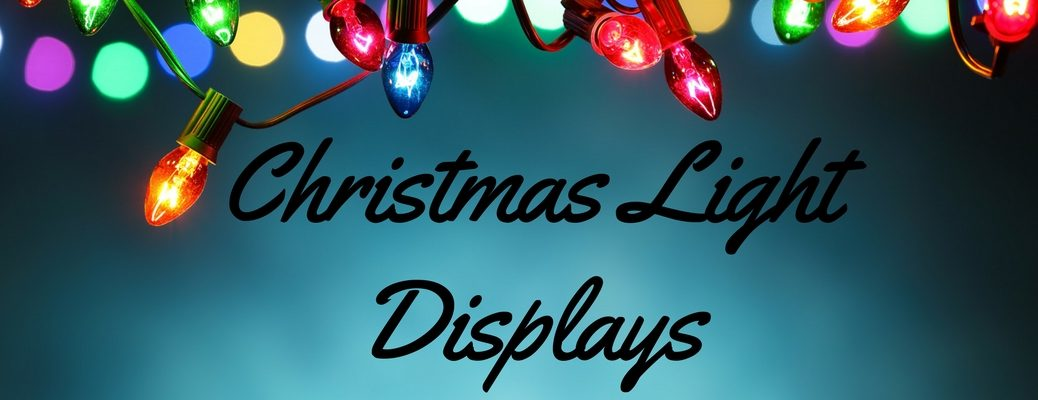 Christmas Lights on a Blue Background with Black Christmas Light Displays Text