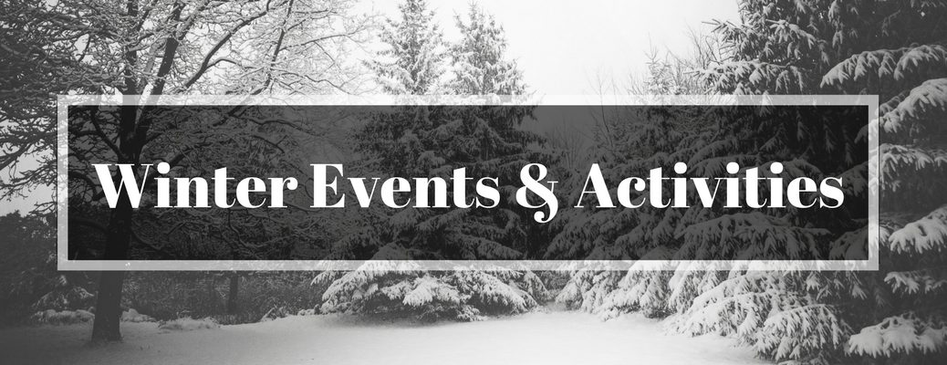 Black and White Photo of Pine Forest in Winter with Winter Events and Activities Text Over the Top
