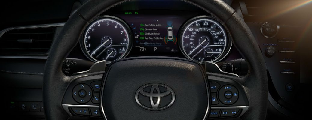 Close Up of 2018 Toyota Camry Steering Wheel and Multi-Information Display