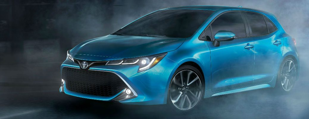 Blue 2019 Toyota Corolla Hatchback Front Exterior in Fog