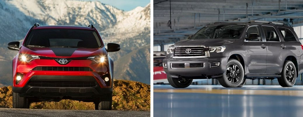 Red 2018 Toyota RAV4 Adventure in Front of Mountains vs Gray 2018 Toyota Sequoia in a Garage