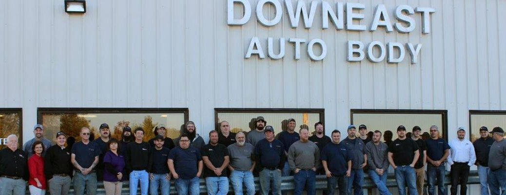 Downeast Auto Body Service Team Standing in Front of Downeast Auto Body Building
