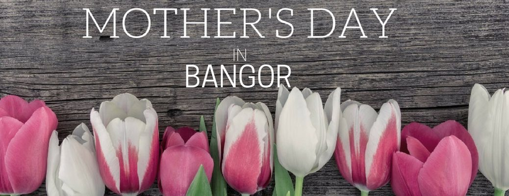Pink and White Tulips on Dark Wood Background with White Mother's Day in Bangor Text