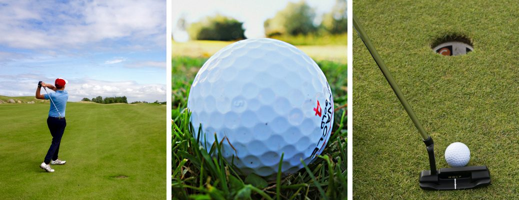 Man Hitting a Golf Ball, Close Up of a Golf Ball and a Putter, Ball and Hole on a Golf Course