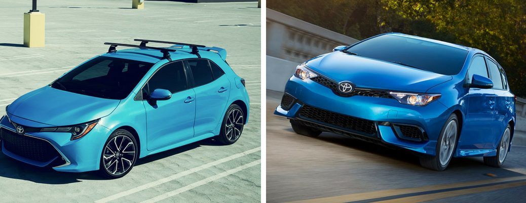 Light Blue 2019 Toyota Corolla Hatchback in a Parking Lot vs Blue 2018 Toyota Corolla iM on a Highway