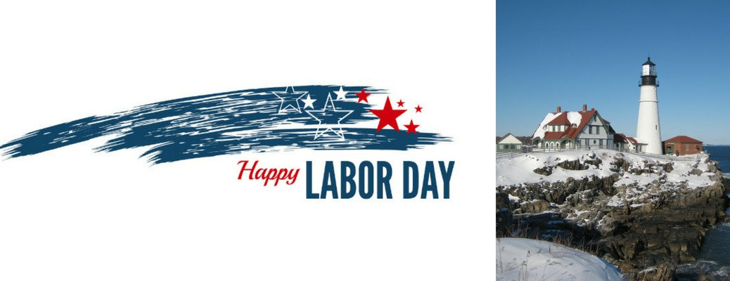 Pictures of a Red, White and Blue Happy Labor Day Graphic and a White Maine Lighthouse in Winter