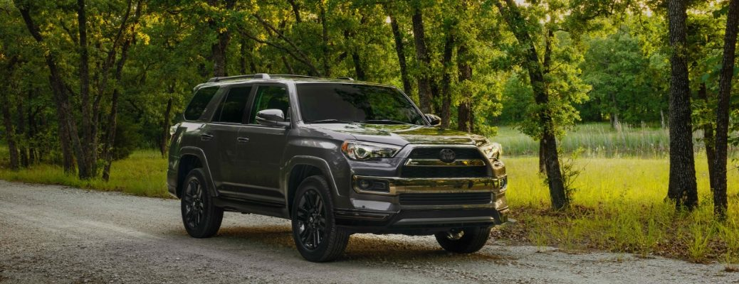 Gray 2019 Toyota 4Runner Nightshade Edition on a Country Road