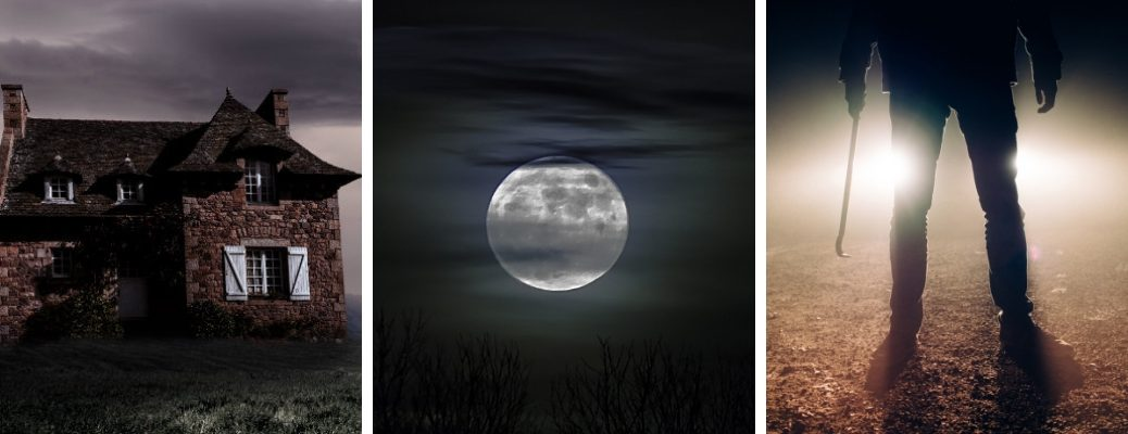 Pictures of a Creepy House on a Hill, a Full Moon Behind Clouds and a Man with a Crowbar in Front of Headlights