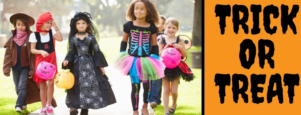 Trick or Treaters in Costume on Halloween and Orange Background with Black Trick or Treat Text