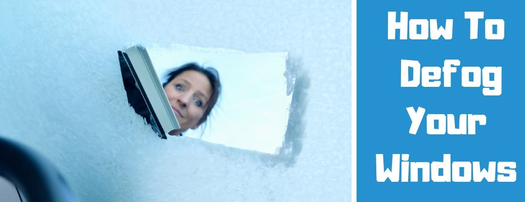 Photo From Inside a Car of a Woman Scraping Ice off of Windshield